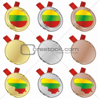lithuania vector flag in medal shapes