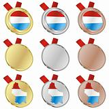 luxembourg vector flag in medal shapes