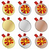 macedonia vector flag in medal shapes