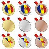 moldova vector flag in medal shapes