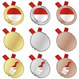 monaco vector flag in medal shapes