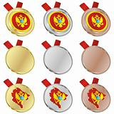 montenegro vector flag in medal shapes