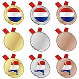 netherlands vector flag in medal shapes
