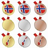 norway vector flag in medal shapes