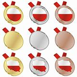 poland vector flag in medal shapes