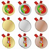 portugal vector flag in medal shapes
