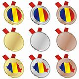 romania vector flag in medal shapes