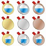san marino vector flag in medal shapes