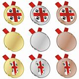 sardinia vector flag in medal shapes