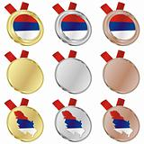 serbia vector flag in medal shapes