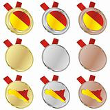 sicily vector flag in medal shapes