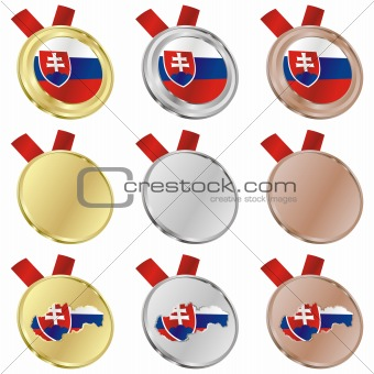 slovakia vector flag in medal shapes