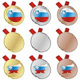 slovenia vector flag in medal shapes