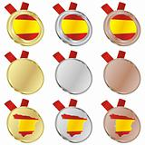 spain vector flag in medal shapes