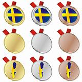 sweden vector flag in medal shapes