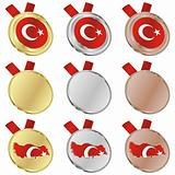 turkey vector flag in medal shapes