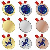 european union vector flag in medal shapes