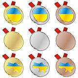 ukraine vector flag in medal shapes