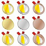 vatican vector flag in medal shapes