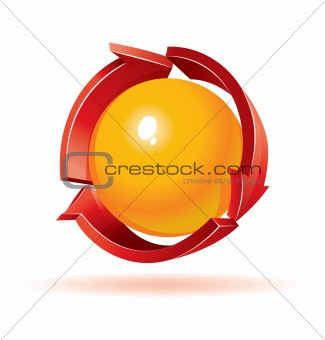 3d vector sphere and arrows