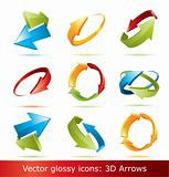 Colorful 3d vector arrows set,