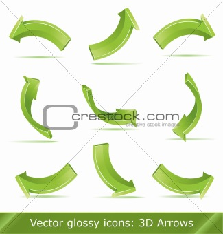 Green 3d vector arrows set,