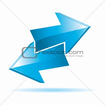 Blue 3d vector arrows