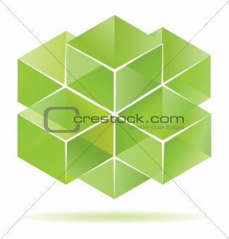 Green cube design.