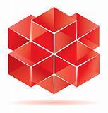 Red cube design.