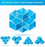 Set of blue cube design elements.