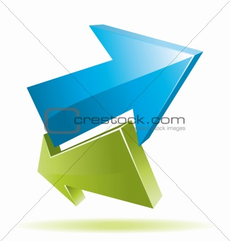 3D green and blue arrows