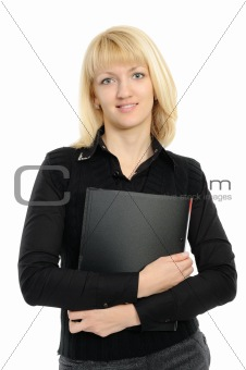 Portrait of business woman with a folder