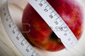 On diet - apple and tape measure