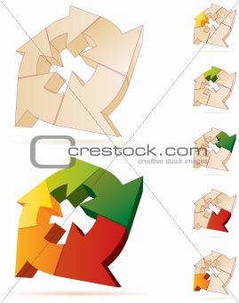 3D vector arrows logo