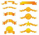 Collection of vector gold ribbons and seals