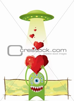 Alien gives a love to UFO.