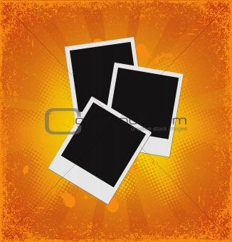 Blank polaroid photos on grunge backgound