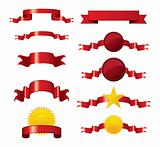Collection of vector brightly red ribbons and seals