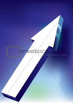 Arrow on blue background