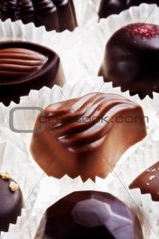 assortment of delicious dark chocolate belgian pralines