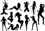 Female Stripper Silhouettes