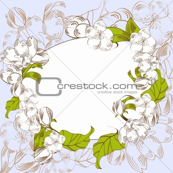 Blue background with decorative flowers
