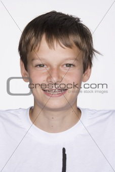 Portrait of Young Boy with Braces. Isolated.