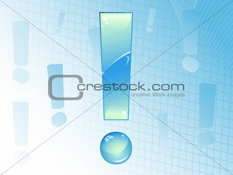 Blue and Glossy Exclamation Mark Background.