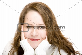 Portrait of happy smiling attractive woman with head in hands