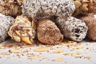 assortment of delicious chocolate truffles