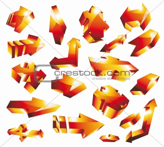 3D glossy gold orange arrow set