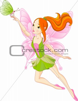 Beautiful fairy and butterfly