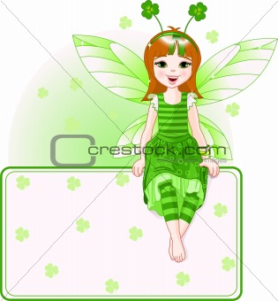 Little cute fairy place card for St. Patrick's Day
