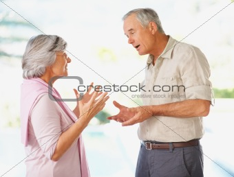 Relationship issues - Elderly couple reconciling after a argumen